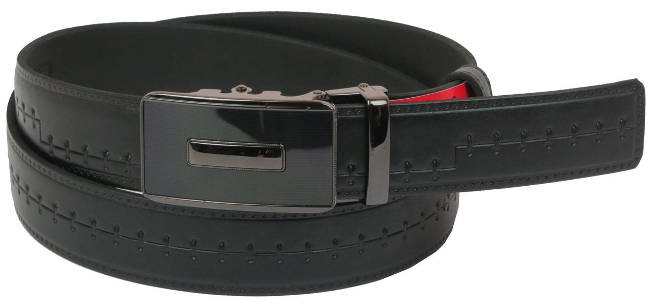 Мужской кожаный ремень под брюки Skipper 1090-35 черный 3,5 см
