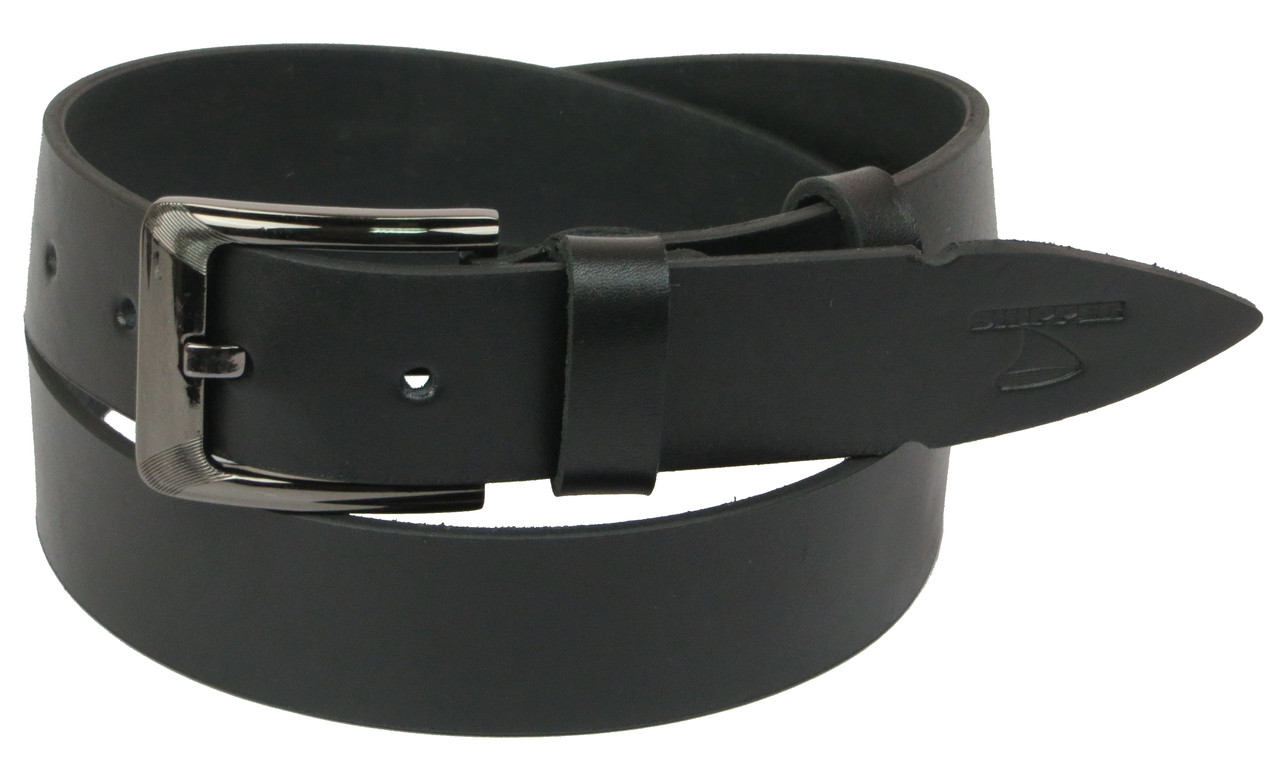 Чоловічий шкіряний ремінь під джинси Skipper 1128-38 чорний 3,8 см