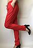 Летние женские брюки красные на резинке, льогкие летние женские штаны со шнурком Султанки 1300