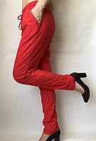 Летние женские брюки красные на резинке, льогкие летние женские штаны со шнурком Султанки 1300, фото 1