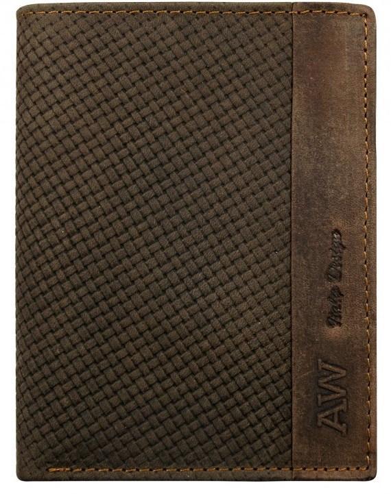 Вертикальное портмоне из натуральной кожи Always Wild коричневое