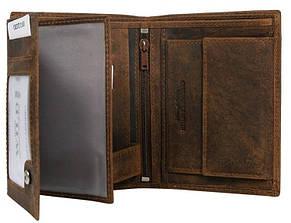 Вертикальное портмоне из натуральной кожи Always Wild коричневое, фото 2