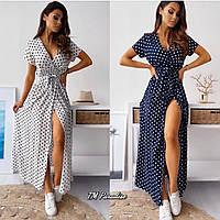 Женское летнее платье в горошек на запах длинное с поясом белое синее красное пудра 42-44 44-46 46-48 50-52