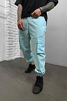Весенние джинсы штаны голубого мужские(джоггеры) с карманами, джинсовые брюки карго на резинке Турция