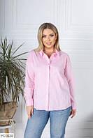 Женская однотонная рубашка розовый