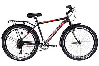 """Велосипед міської чоловічий 26"""" Discovery Prestige Man 2021 рама 18"""" чорно-червоний з хакі"""