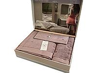 Набор полотенец Maison D'or Soft Hearts Darc Lilac махровые 30-50 см,50-100 см,85-150 см сиреневый