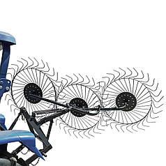 Грабли Солнышко для минитрактора на 3 колеса (прицепное 3 точки)