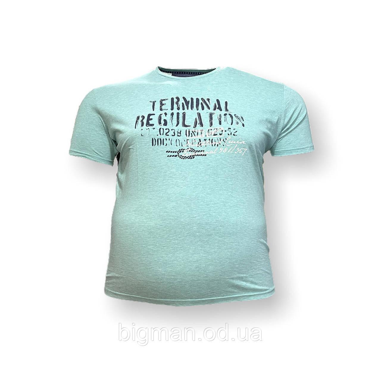 Чоловіча батальна футболка Monte Carlo 12092 3XL 4XL 5XL 6XL 7XL бірюзовий великі розміри Туреччина