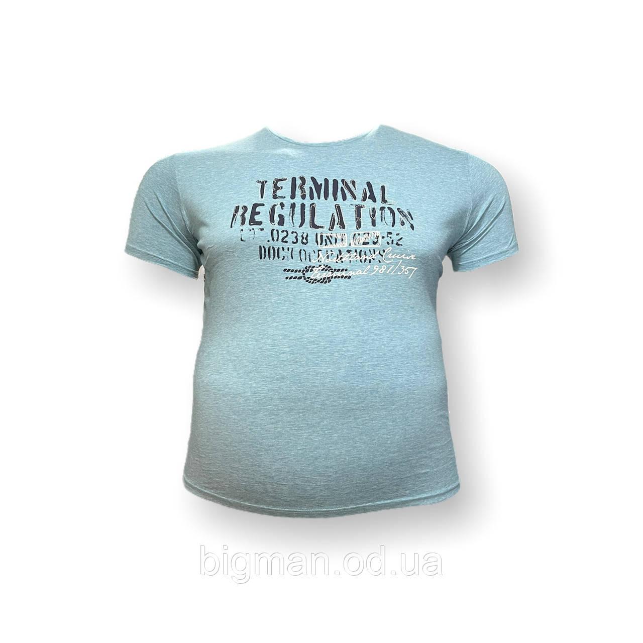Мужская батальная футболка Monte Carlo 12096 3XL 4XL 5XL 6XL 7XL голубая большие размеры Турция