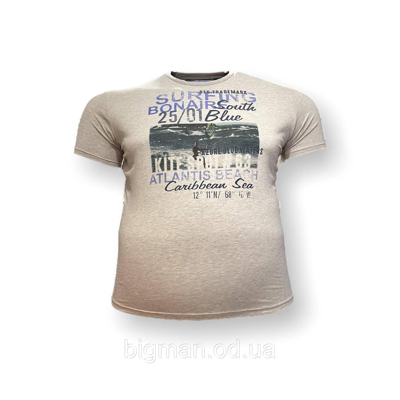 Чоловіча батальна футболка Monte Carlo 12097 3XL 4XL 5XL 6XL 7XL коричнева великі розміри Туреччина
