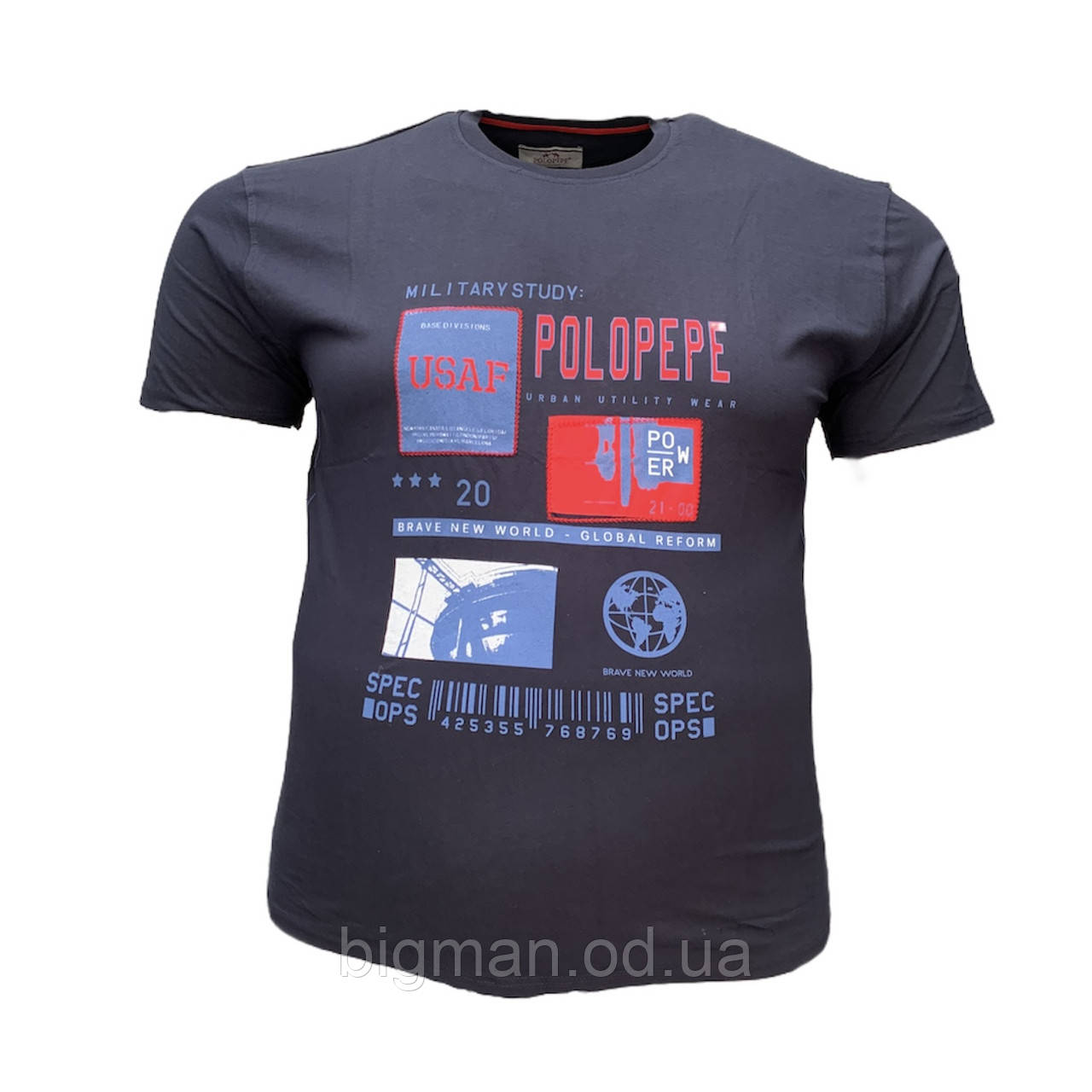 Мужская батальная футболка PoloPepe 12103 3XL 4XL 5XL 6XL темно-синяя большие размеры Турция