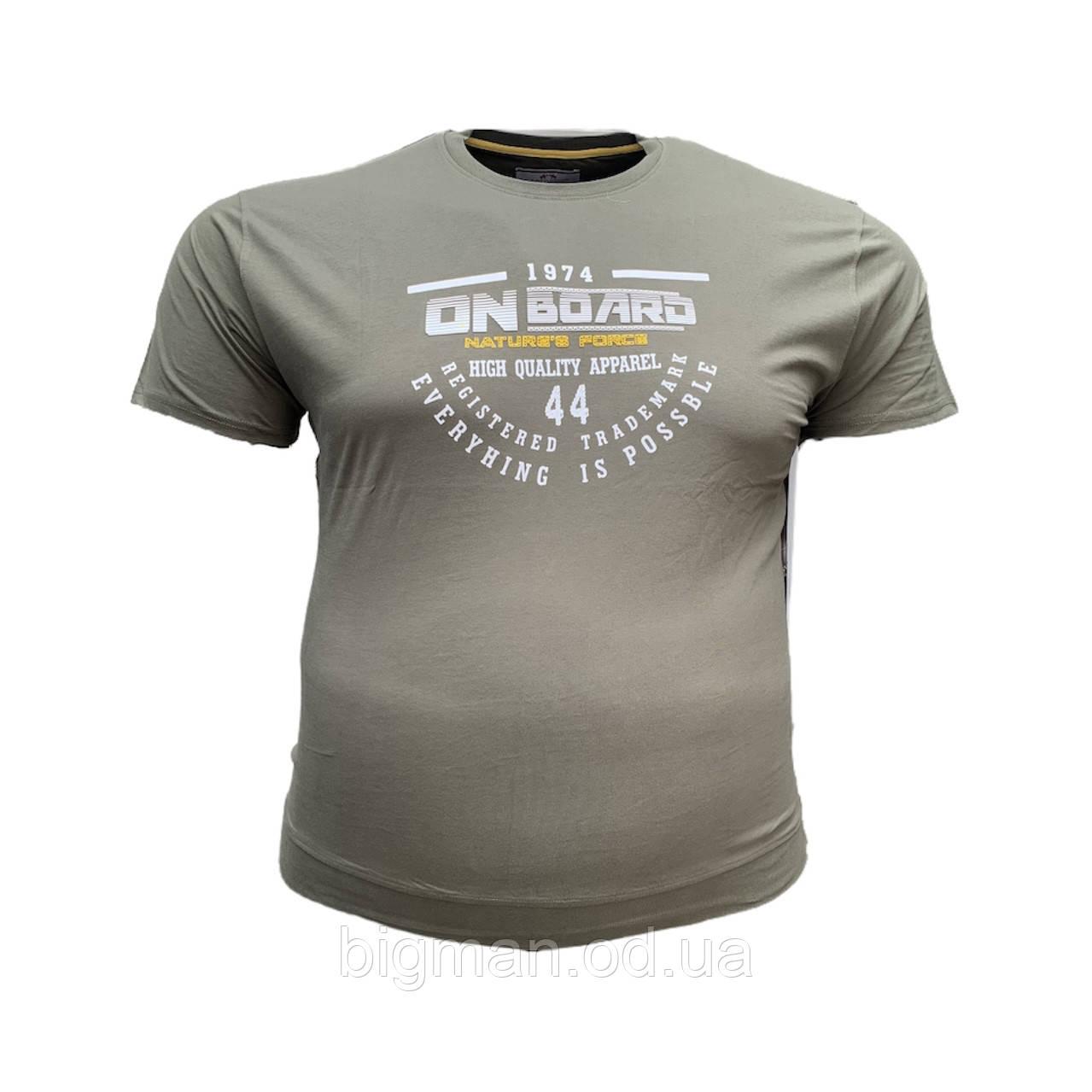 Чоловіча батальна футболка на резинці PoloPepe 12104 3XL 4XL 5XL 6XL хакі великі розміри Туреччина