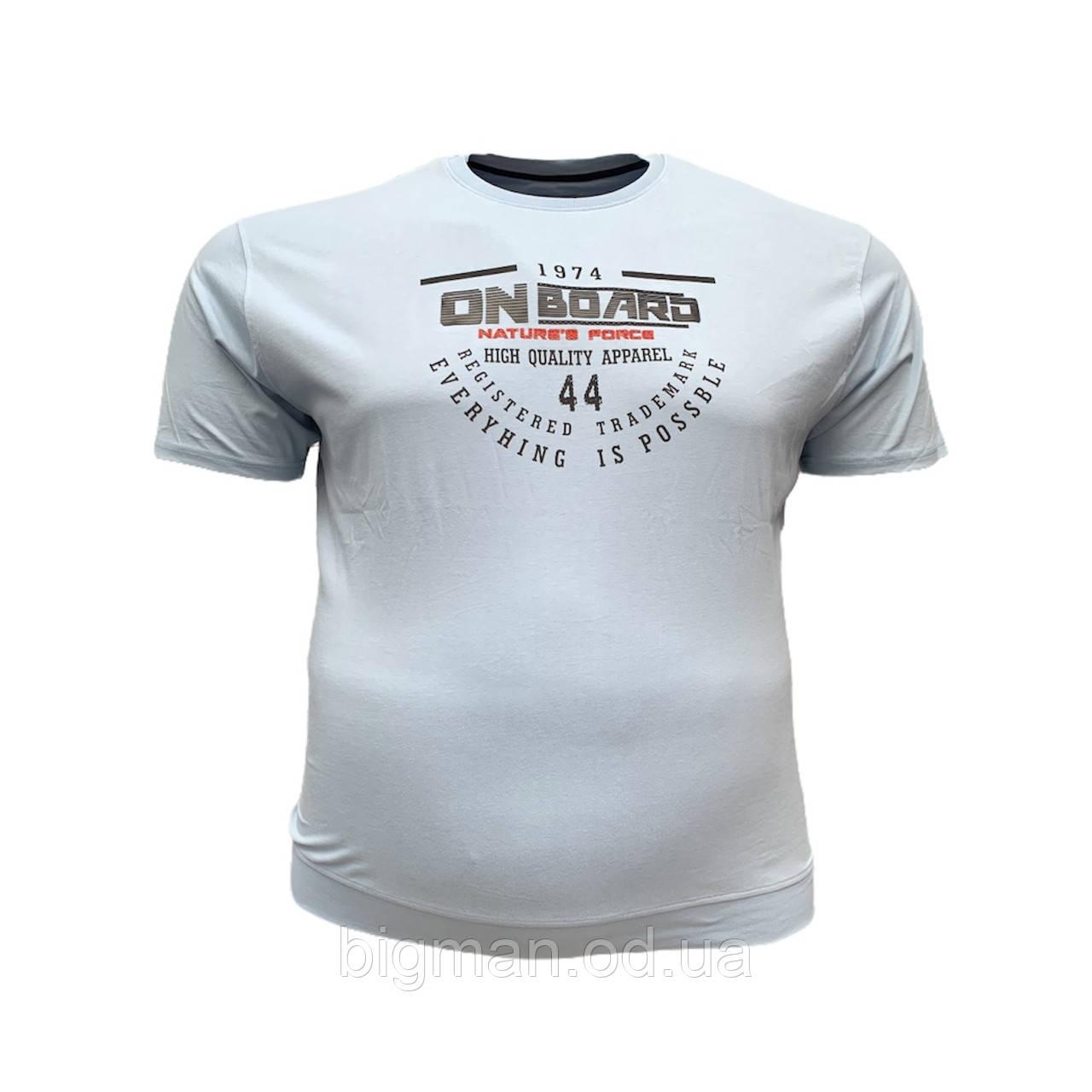 Чоловіча батальна футболка на резинці PoloPepe 12105 3XL 4XL 5XL 6XL блакитна великі розміри Туреччина