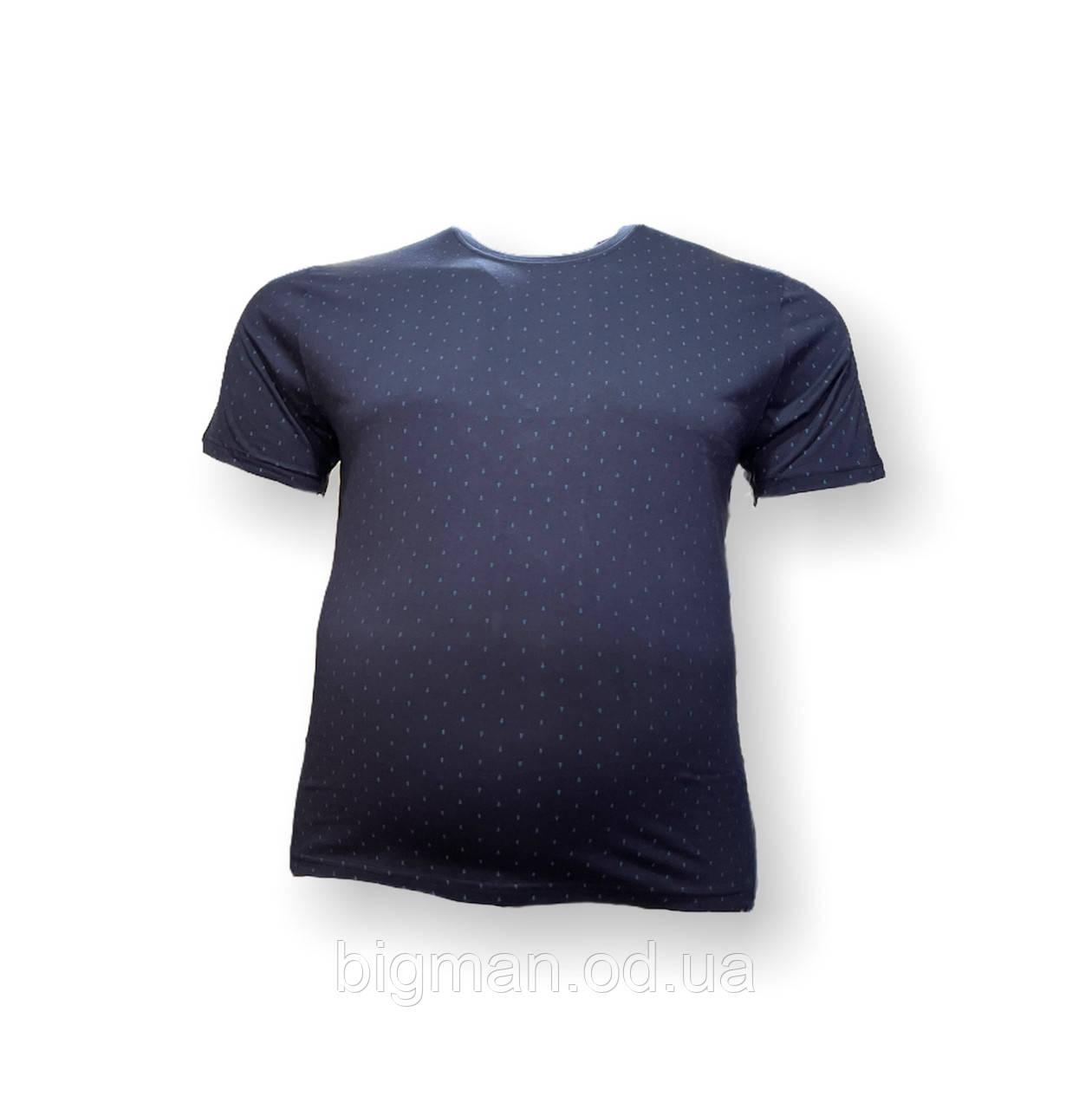 Мужская батальная футболка Borcan 12107 3XL 4XL 5XL 6XL темно-синяя большие размеры Турция