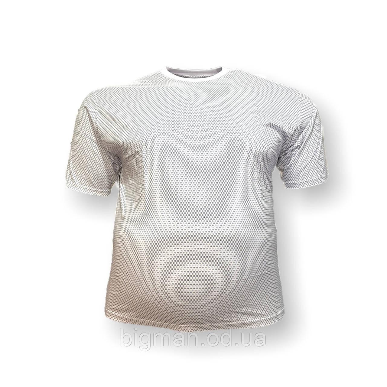 Мужская батальная футболка Borcan 12108 3XL 4XL 5XL 6XL белая большие размеры Турция