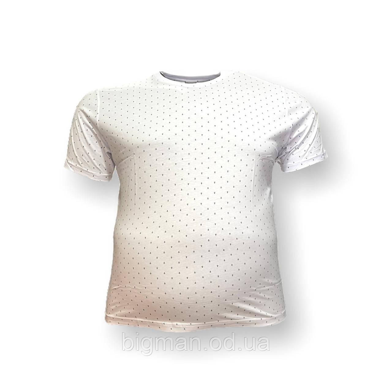 Мужская батальная футболка Borcan 12109 3XL 4XL 5XL 6XL белая большие размеры Турция