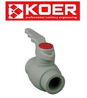 Кран шаровой (ручка) для горячей воды d32 KOER PPR K0177.PRO
