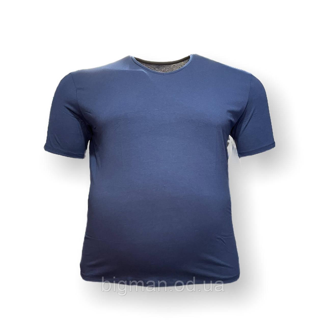 Мужская батальная футболка DioRise 12111 3XL 4XL 5XL 6XL 7XL синяя большие размеры Турция