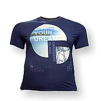 Мужская батальная футболка Grand la Vita 12114 3XL 4XL 5XL 6XL 7XL темно-синяя большие размеры Турция, фото 1