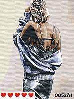 Картина по номерам Девушка, цветной холст, 40*50 см, без коробки Barvi