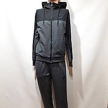 Мужской спортивный костюм Nike (Найк) реплика на молнии с капюшоном хлопок Серый
