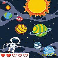 Картина по номерам  Космос, цветной холст, 30*30 см, без коробки Barvi