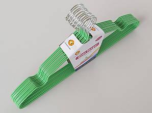Плечики металлические в силиконовом покрытии зеленого цвета, 40,5 см, 10 штук в упаковке
