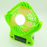 Вентилятор аккумуляторный с солнечной батареей и LED подсветкой с USB UKC JA-1991 зеленый