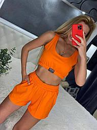 Костюм тройка с топом M, Оранжевый