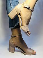 Высокое качество! Женские босоножки с открытым носом,на среднем каблуке,с ремешком на щиколотке.36-40.Vellena, фото 2