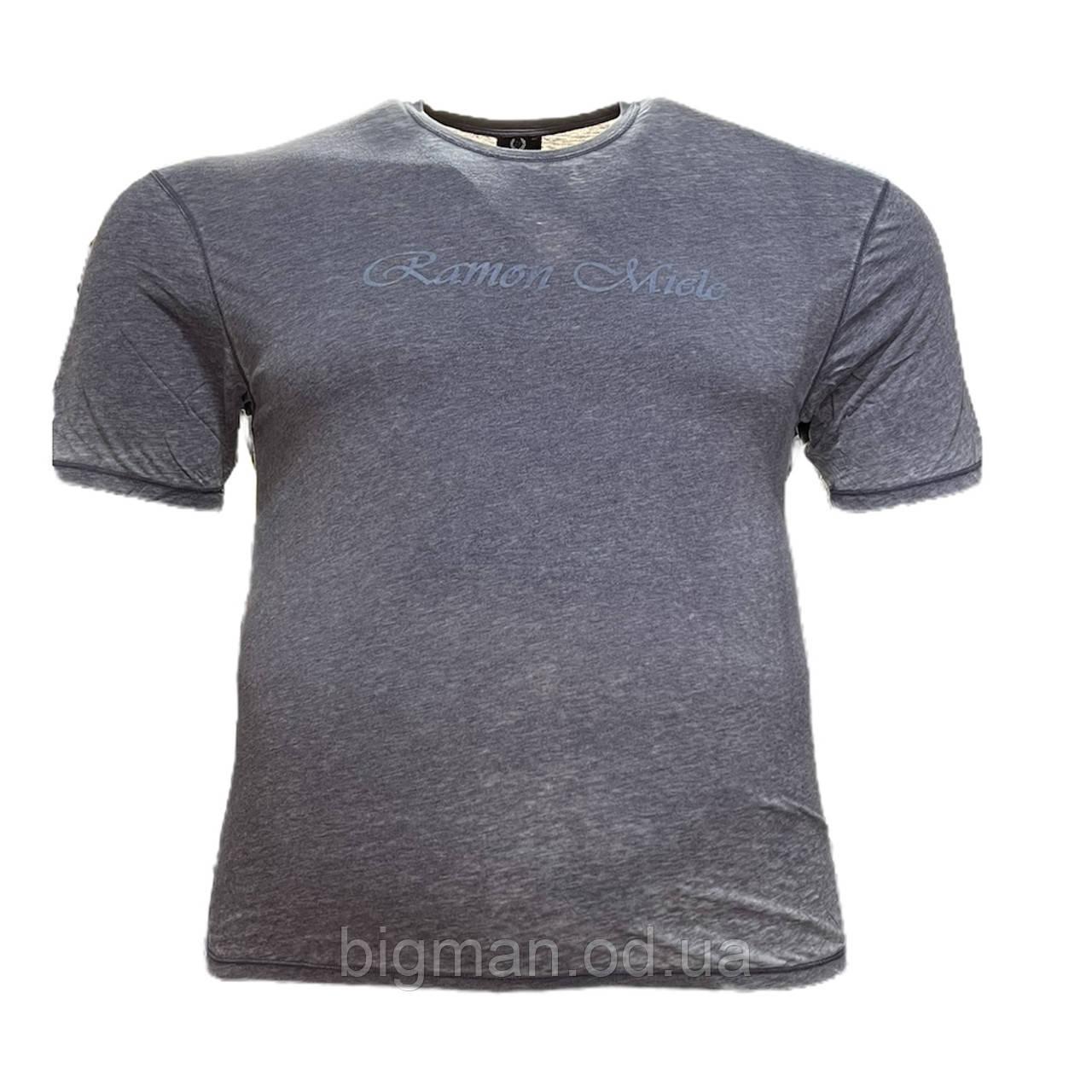 Чоловіча батальна футболка Miele 12117 2XL 3XL 4XL 5XL 6XL сіра великі розміри Туреччина