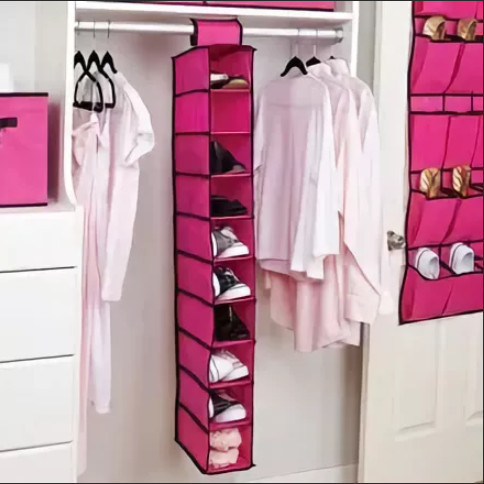 Подвесной органайзер для шкафа Hanging Shoe Organizer на 10 секций красный