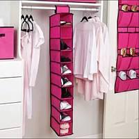Подвесной органайзер для шкафа Hanging Shoe Organizer на 10 секций красный, фото 1