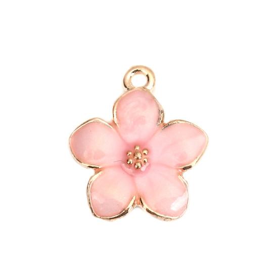 Підвіска Finding Квітка Золотистий рожева емаль 17 мм x 15 мм