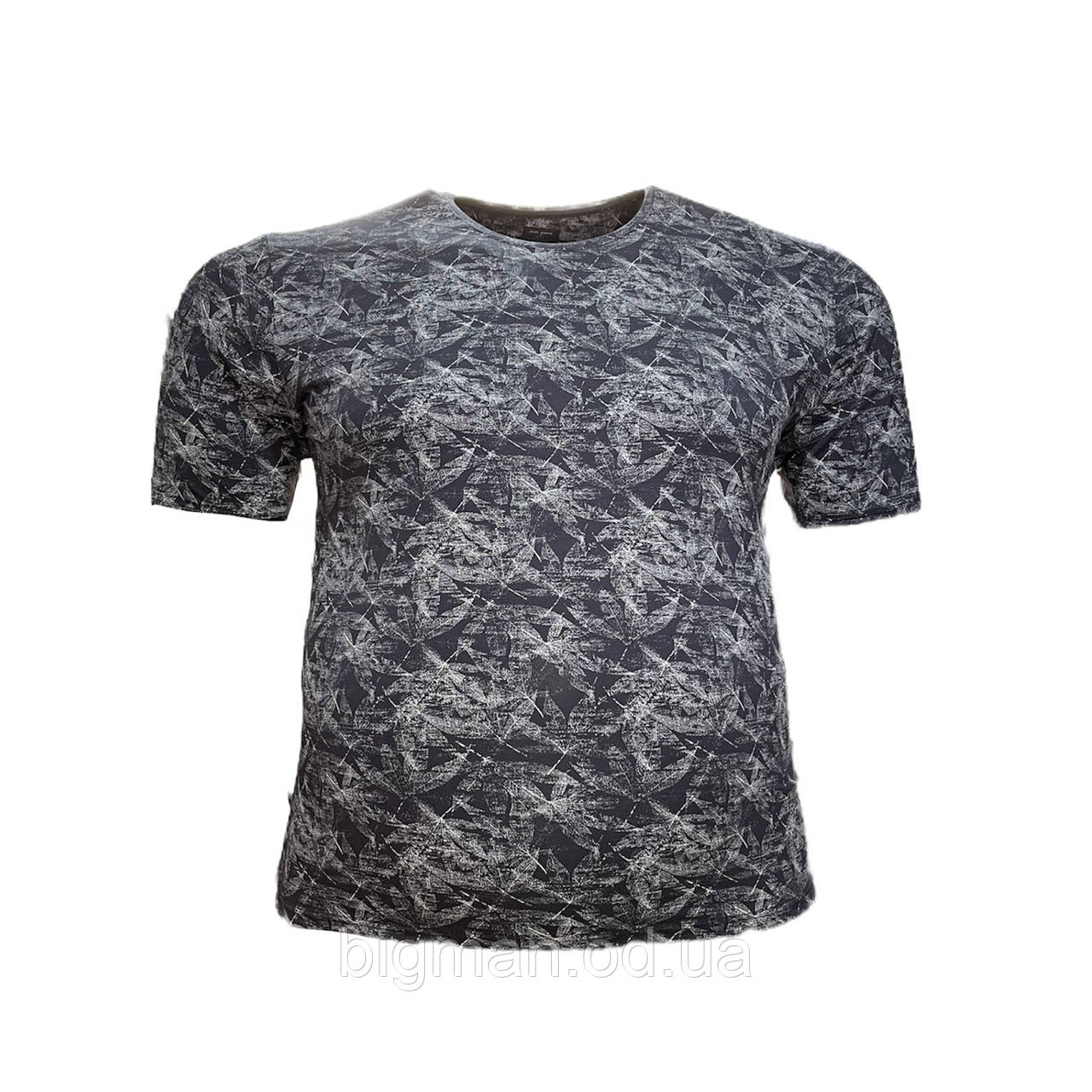 Чоловіча батальна футболка на резинці Jean Piere 12119 6XL 7XL 8XL синя великі розміри Туреччина