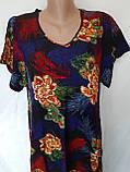 Летнее штапельное платье. Платье с коротким рукавом из натуральной ткани 1286, фото 3