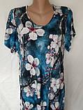 Летнее штапельное платье. Платье с коротким рукавом из натуральной ткани 1286, фото 4