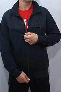 Турецкий спортивный костюм Soccer двунитка тёмно-синий хлопок 70 брюки прямые карманы на молнии