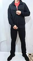 Турецкий спортивный костюм Soccer двунитка тёмно-синий хлопок 70 брюки прямые карманы на молнии, фото 3