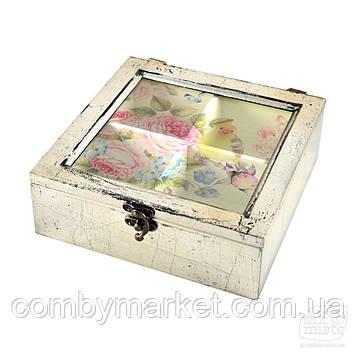"""Коробка для чаю дерев'яна яна """"Птахи"""""""