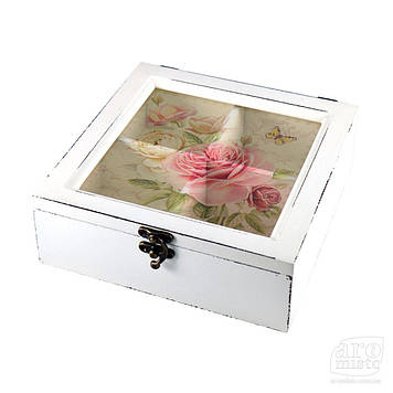 """Коробка для чаю дерев'яна яна """"Квіти"""""""