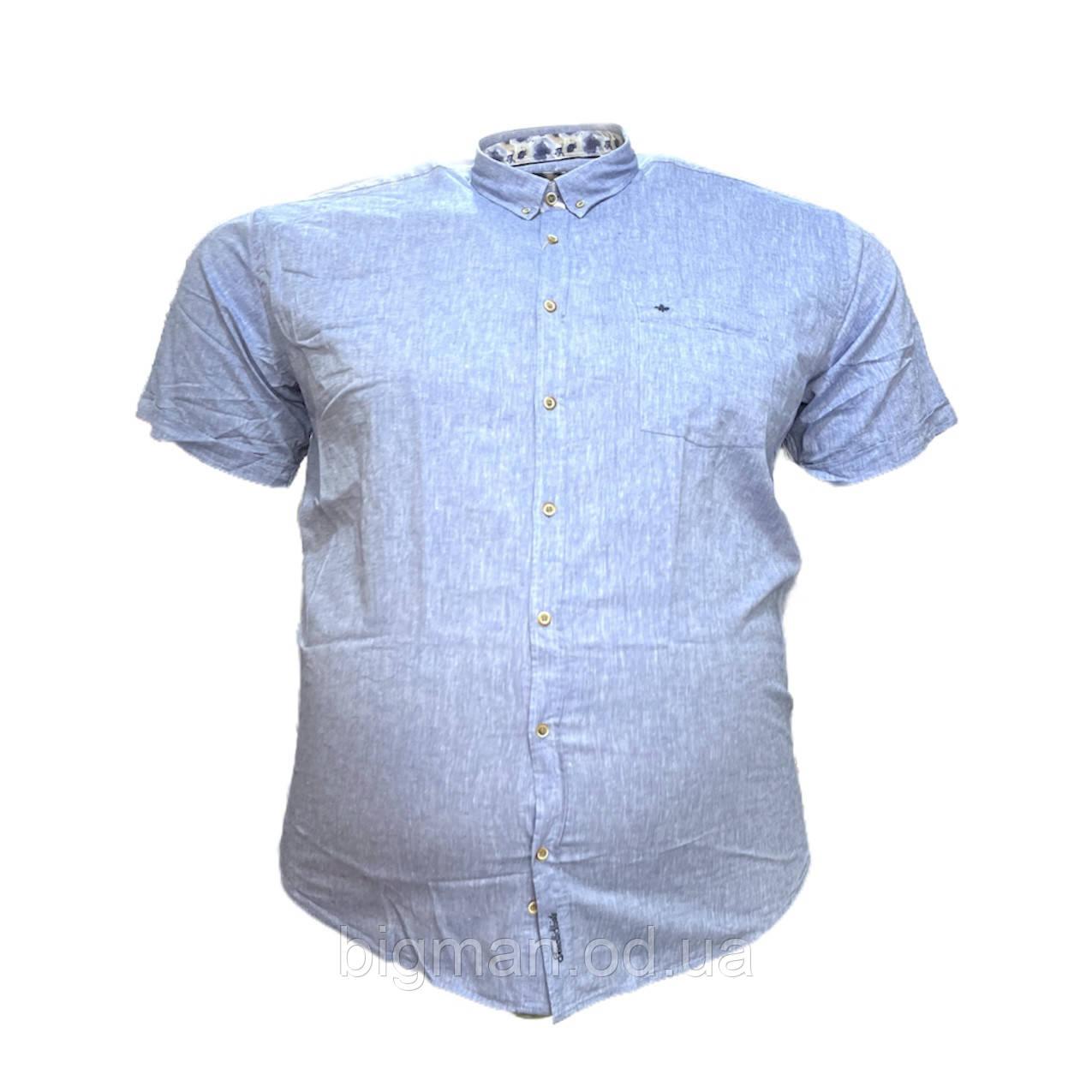Мужская лен рубашка с коротким рукавом Tonelli 16075 2XL 3XL 4XL 5XL голубая большие размеры батал Турция