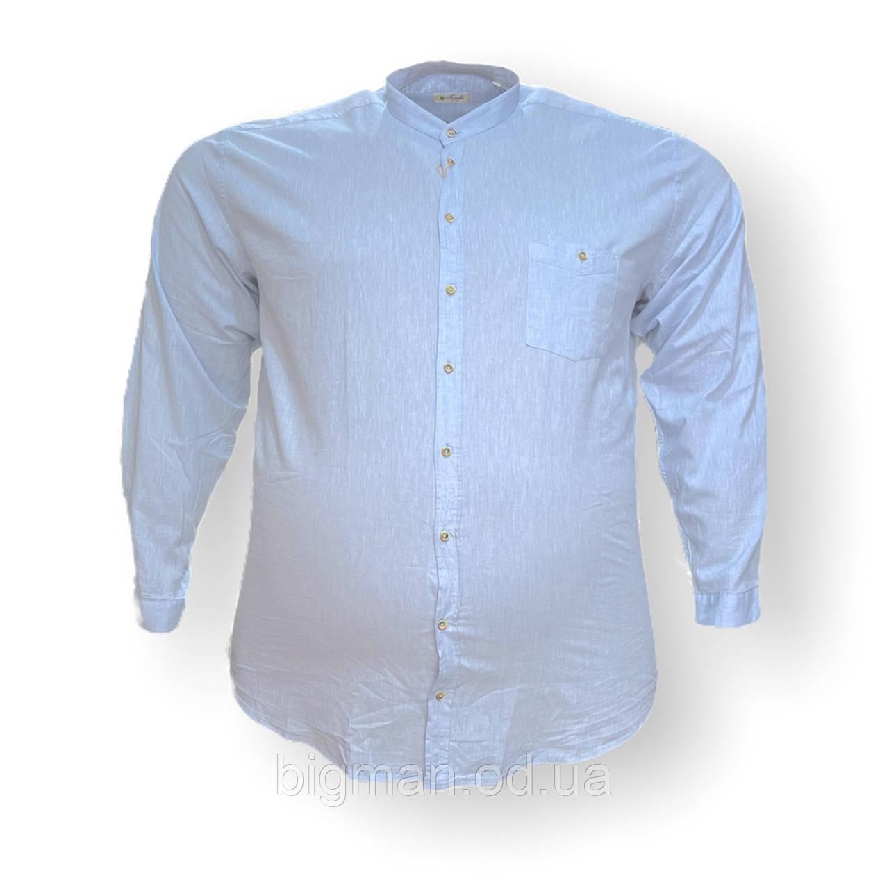 Чоловіча льон сорочка з довгим рукавом Tonelli 16075 2XL 3XL 4XL 5XL блакитна великі розміри батал Туреччина