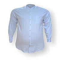Чоловіча льон сорочка з довгим рукавом Tonelli 16075 2XL 3XL 4XL 5XL блакитна великі розміри батал Туреччина, фото 1
