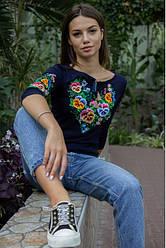 """Женская футболка-вышиванка """"Анютка""""  , рукав 3/4,  р. С, М т.синяя"""