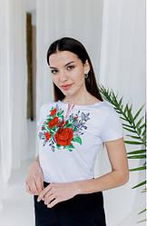 """Женская нарядная футболка - вышиванка """"Моника """" ,  р. 42,44,46,48,50,52 белая"""