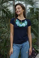 """Женская нарядная футболка - вышиванка """"Тиффани """" ,  р. 42,44,46,48,50,52-54, 56-58 темн.синяя"""