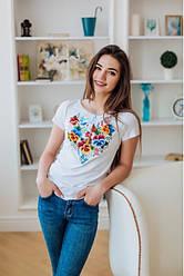 """Жіноча футболка ошатна - вишиванка """"Анютка"""" , р. 42,44,46,48,50,52 біла"""