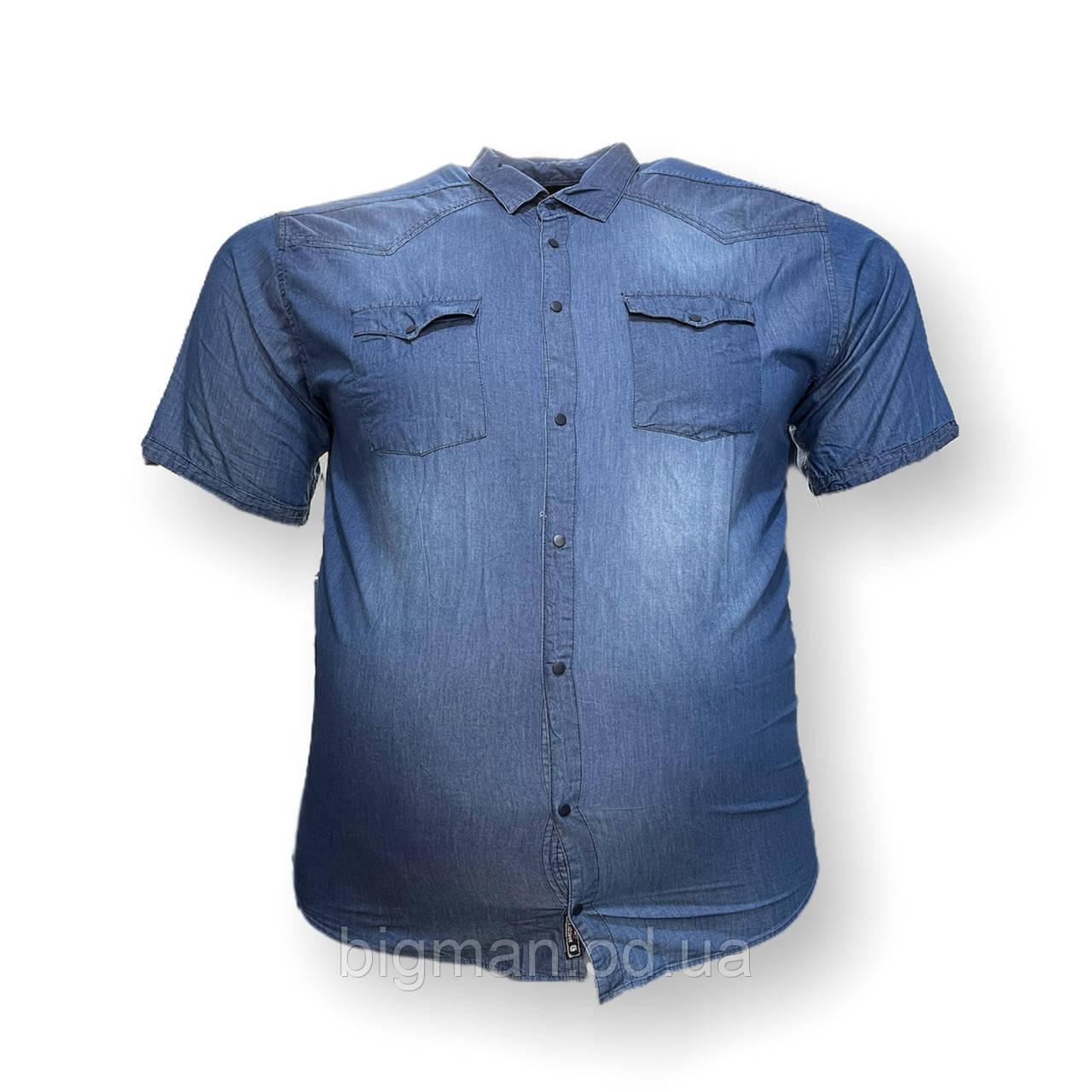Чоловіча джинс сорочка з коротким рукавом Barcotti 16088 2XL 3XL 4XL 5XL 6XL синя великі розміри батал Туреччина